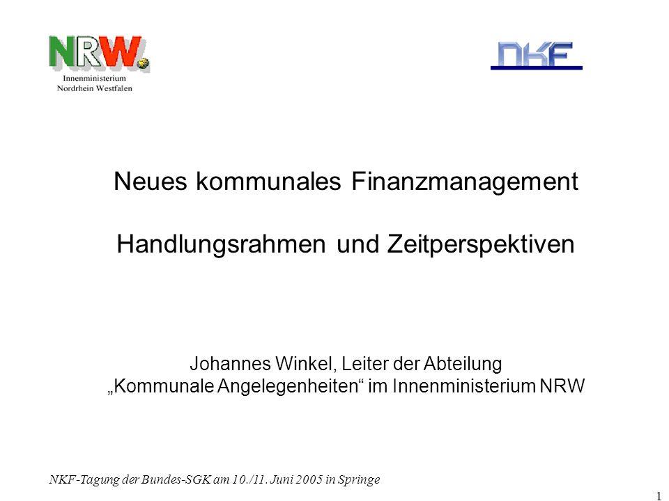 NKF-Tagung der Bundes-SGK am 10./11. Juni 2005 in Springe 1 Neues kommunales Finanzmanagement Handlungsrahmen und Zeitperspektiven Johannes Winkel, Le