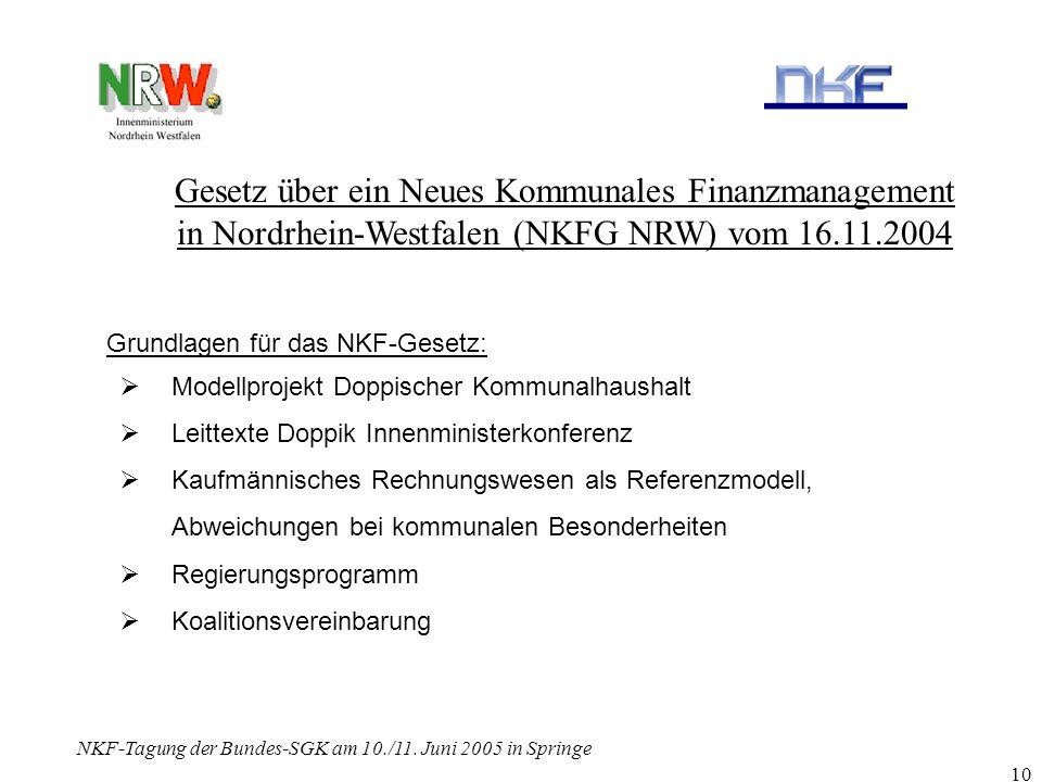 NKF-Tagung der Bundes-SGK am 10./11. Juni 2005 in Springe 10 Gesetz über ein Neues Kommunales Finanzmanagement in Nordrhein-Westfalen (NKFG NRW) vom 1