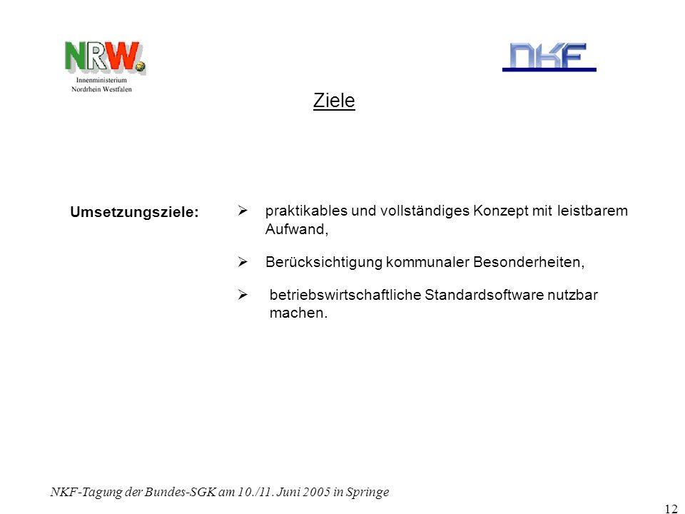 NKF-Tagung der Bundes-SGK am 10./11. Juni 2005 in Springe 12 Ziele praktikables und vollständiges Konzept mit leistbarem Aufwand, Berücksichtigung kom