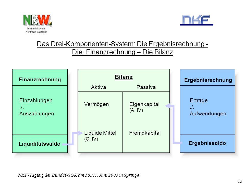 NKF-Tagung der Bundes-SGK am 10./11. Juni 2005 in Springe 13 Das Drei-Komponenten-System: Die Ergebnisrechnung - Die Finanzrechnung – Die Bilanz Finan