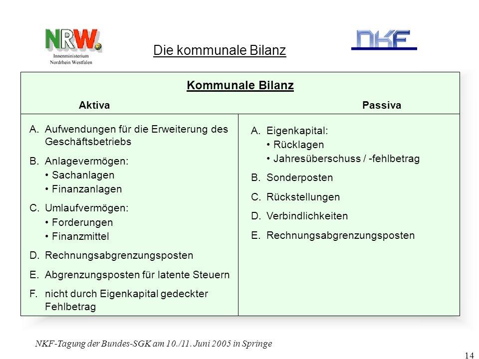 NKF-Tagung der Bundes-SGK am 10./11. Juni 2005 in Springe 14 Die kommunale Bilanz Kommunale Bilanz Aktiva Passiva A.Aufwendungen für die Erweiterung d