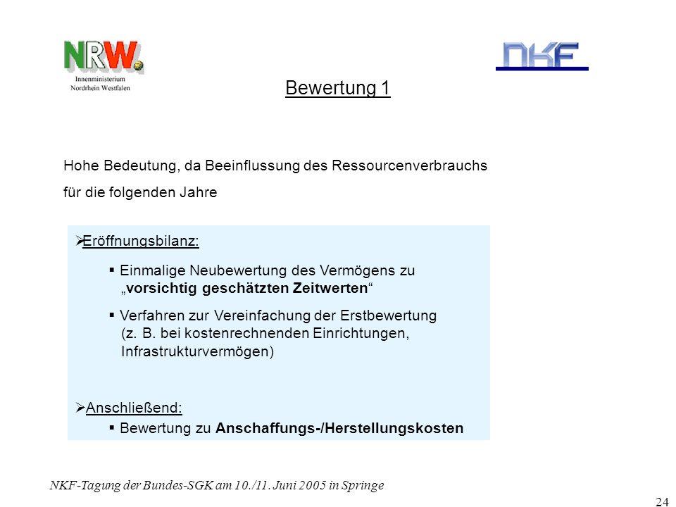 NKF-Tagung der Bundes-SGK am 10./11. Juni 2005 in Springe 24 Bewertung 1 Hohe Bedeutung, da Beeinflussung des Ressourcenverbrauchs für die folgenden J