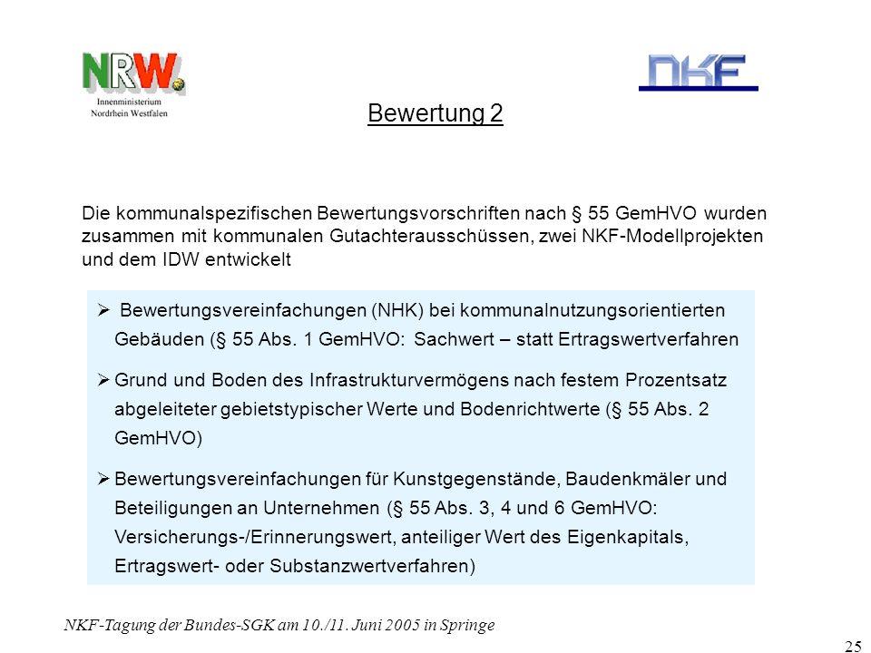 NKF-Tagung der Bundes-SGK am 10./11. Juni 2005 in Springe 25 Bewertung 2 Die kommunalspezifischen Bewertungsvorschriften nach § 55 GemHVO wurden zusam