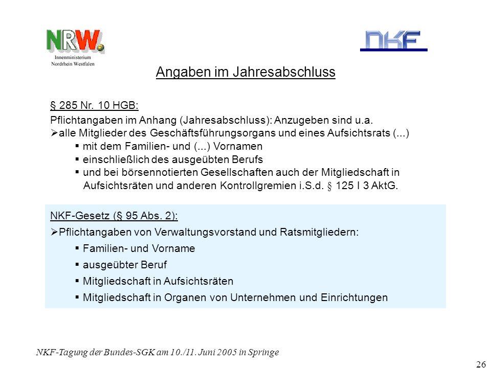 NKF-Tagung der Bundes-SGK am 10./11. Juni 2005 in Springe 26 Angaben im Jahresabschluss § 285 Nr. 10 HGB: Pflichtangaben im Anhang (Jahresabschluss):