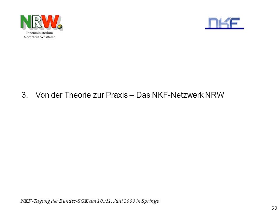 NKF-Tagung der Bundes-SGK am 10./11. Juni 2005 in Springe 30 3.Von der Theorie zur Praxis – Das NKF-Netzwerk NRW