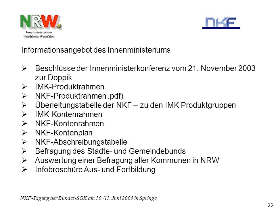 NKF-Tagung der Bundes-SGK am 10./11. Juni 2005 in Springe 33 Informationsangebot des Innenministeriums Beschlüsse der Innenministerkonferenz vom 21. N