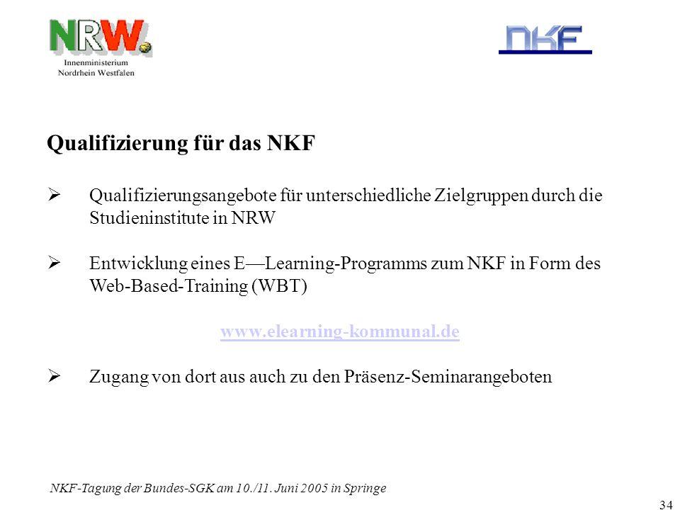 NKF-Tagung der Bundes-SGK am 10./11. Juni 2005 in Springe 34 Qualifizierung für das NKF Qualifizierungsangebote für unterschiedliche Zielgruppen durch