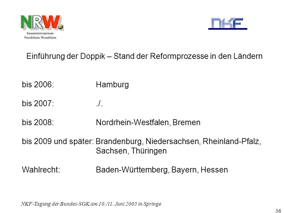 NKF-Tagung der Bundes-SGK am 10./11. Juni 2005 in Springe 36 Einführung der Doppik – Stand der Reformprozesse in den Ländern bis 2006:Hamburg bis 2007