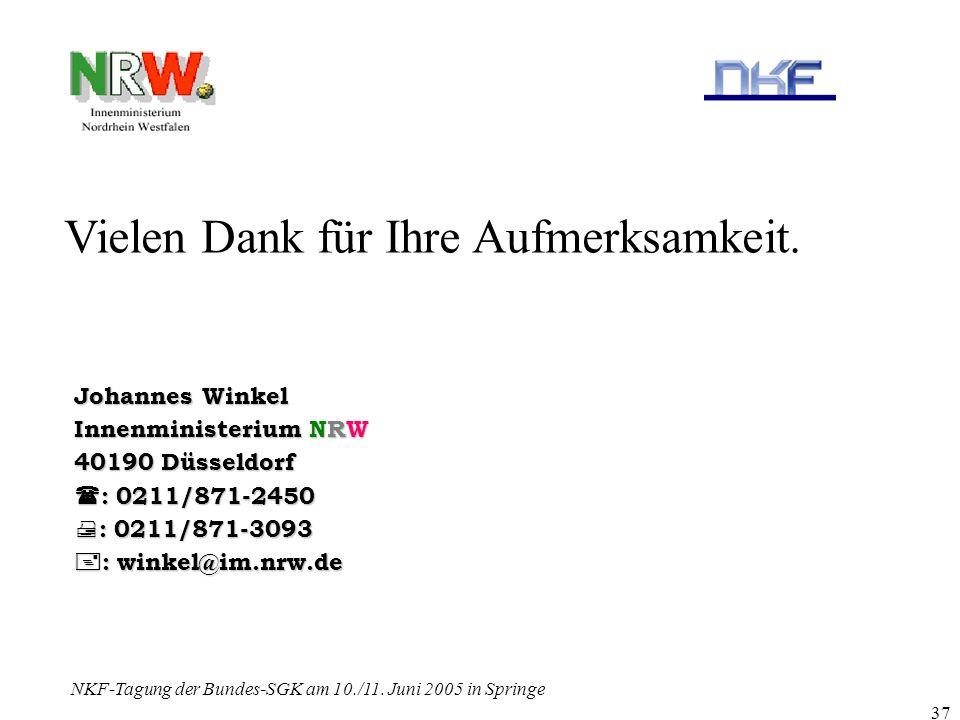 NKF-Tagung der Bundes-SGK am 10./11. Juni 2005 in Springe 37 Vielen Dank für Ihre Aufmerksamkeit. Johannes Winkel Innenministerium NRW 40190 Düsseldor