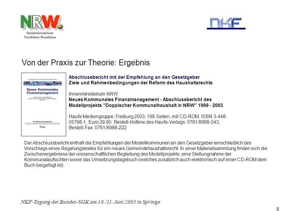 NKF-Tagung der Bundes-SGK am 10./11. Juni 2005 in Springe 8 Von der Praxis zur Theorie: Ergebnis Abschlussbericht mit der Empfehlung an den Gesetzgebe