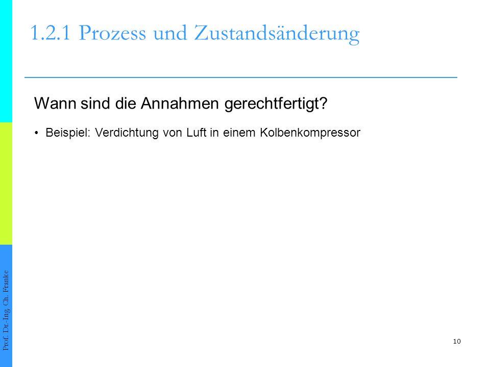 10 1.2.1Prozess und Zustandsänderung Prof. Dr.-Ing. Ch. Franke Wann sind die Annahmen gerechtfertigt? Beispiel: Verdichtung von Luft in einem Kolbenko