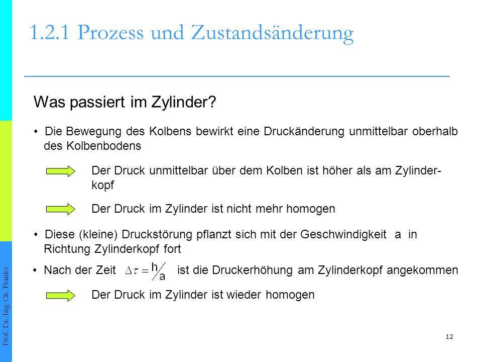 12 1.2.1Prozess und Zustandsänderung Prof. Dr.-Ing. Ch. Franke Was passiert im Zylinder? Die Bewegung des Kolbens bewirkt eine Druckänderung unmittelb