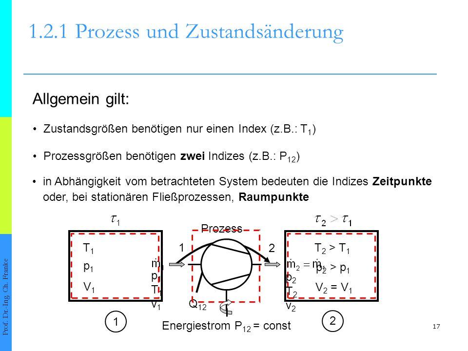 17 1.2.1Prozess und Zustandsänderung Prof. Dr.-Ing. Ch. Franke Zustandsgrößen benötigen nur einen Index (z.B.: T 1 ) Prozessgrößen benötigen zwei Indi