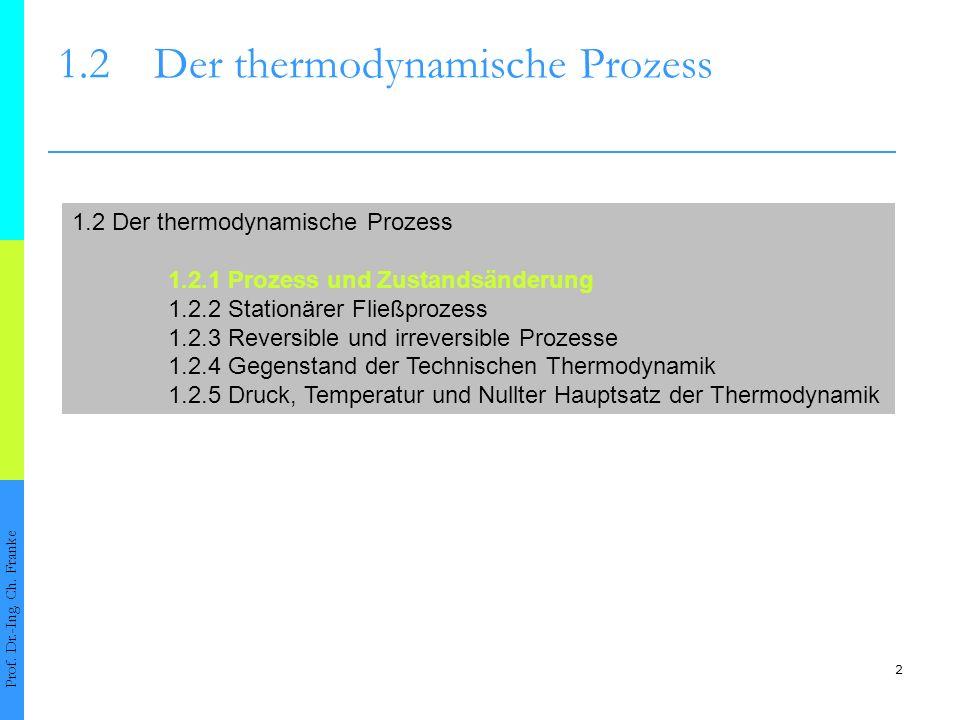 2 1.2Der thermodynamische Prozess Prof. Dr.-Ing. Ch. Franke 1.2 Der thermodynamische Prozess 1.2.1 Prozess und Zustandsänderung 1.2.2 Stationärer Flie