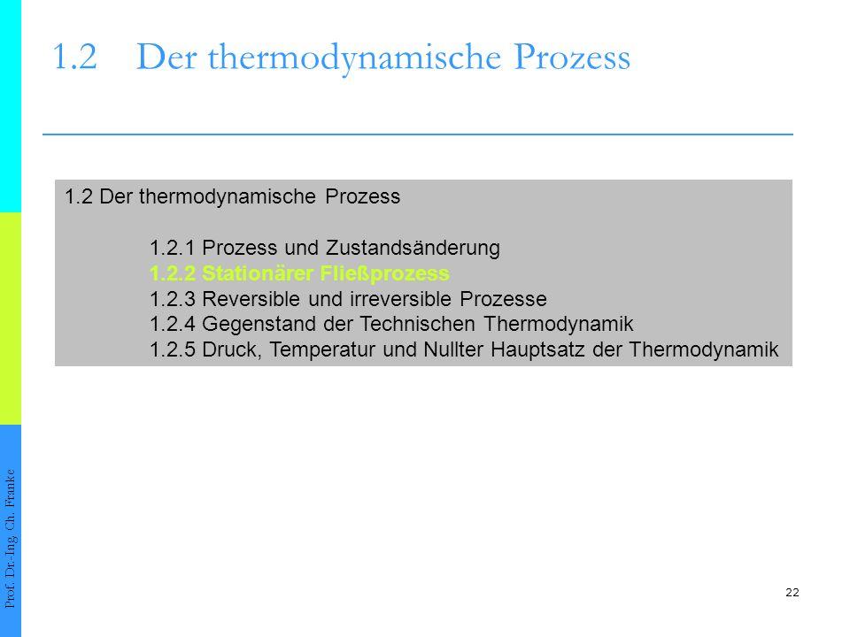 22 1.2Der thermodynamische Prozess Prof. Dr.-Ing. Ch. Franke 1.2 Der thermodynamische Prozess 1.2.1 Prozess und Zustandsänderung 1.2.2 Stationärer Fli
