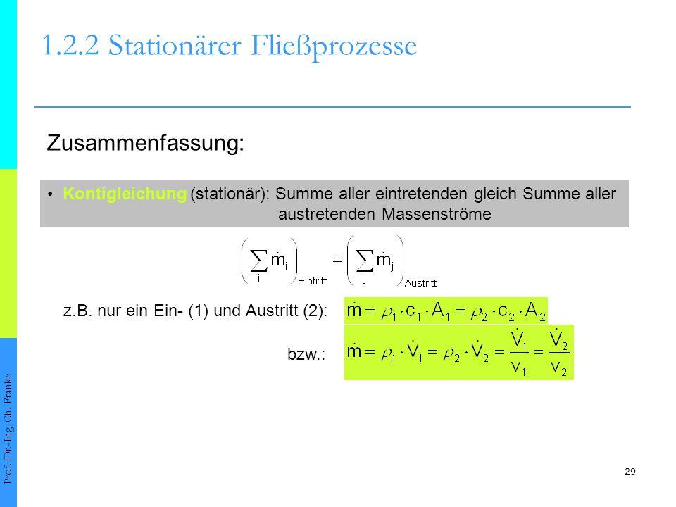 29 1.2.2Stationärer Fließprozesse Prof. Dr.-Ing. Ch. Franke Zusammenfassung: Kontigleichung (stationär): Summe aller eintretenden gleich Summe aller a