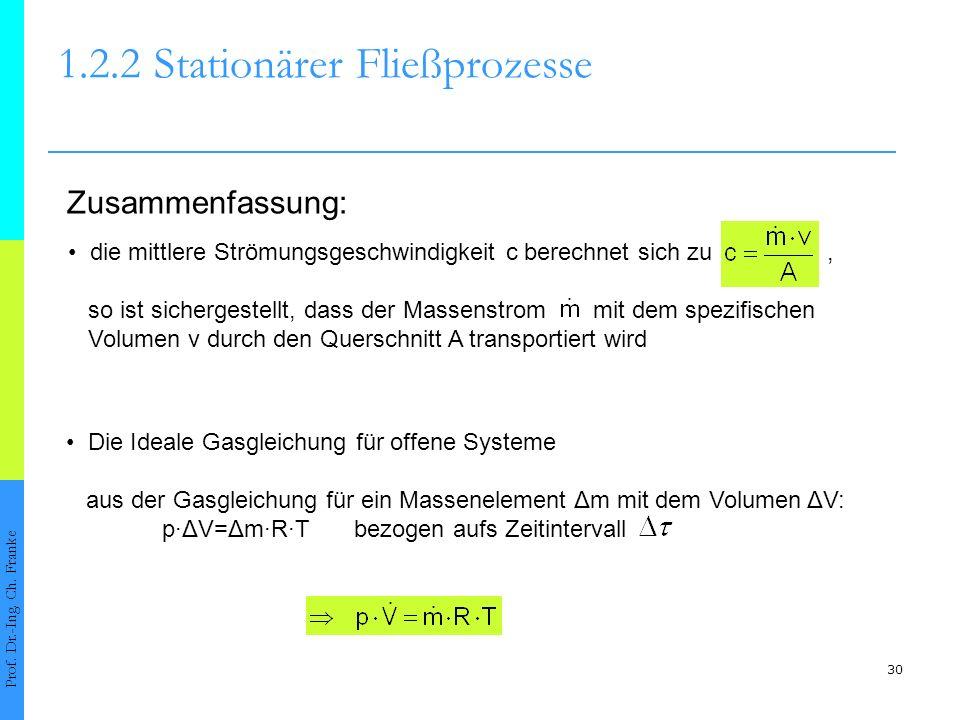 30 1.2.2Stationärer Fließprozesse Prof. Dr.-Ing. Ch. Franke Zusammenfassung: Die Ideale Gasgleichung für offene Systeme aus der Gasgleichung für ein M