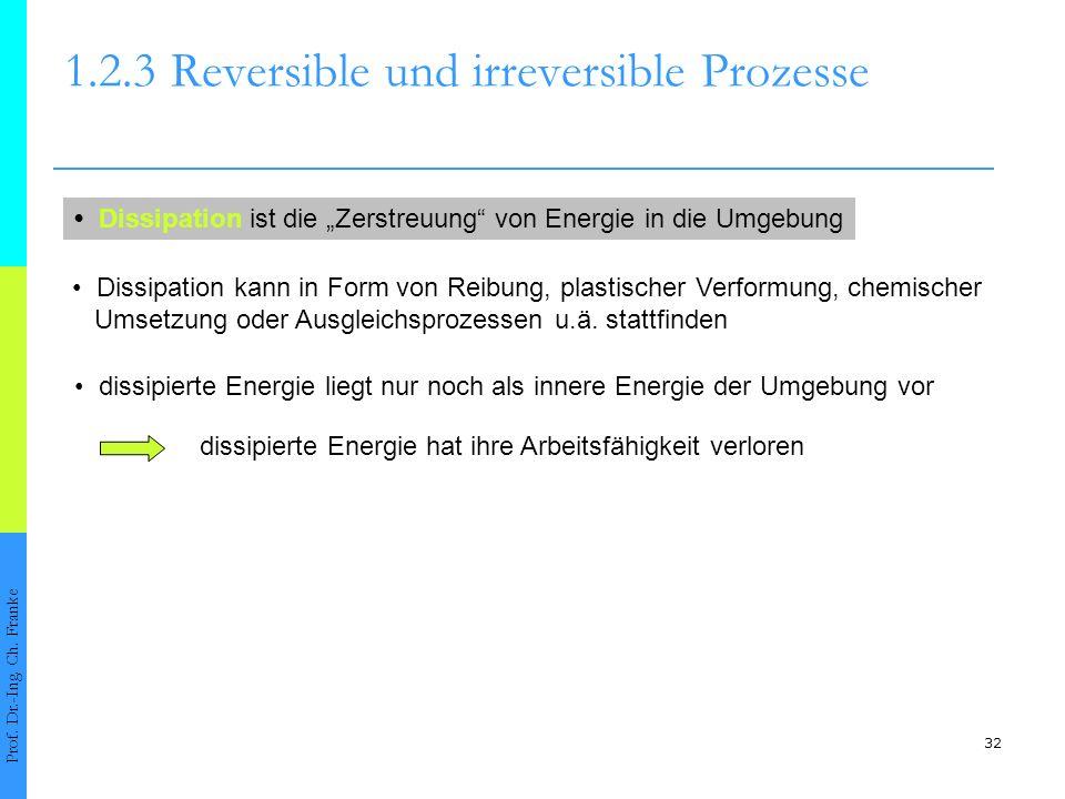 32 1.2.3Reversible und irreversible Prozesse Prof. Dr.-Ing. Ch. Franke Dissipation ist die Zerstreuung von Energie in die Umgebung dissipierte Energie