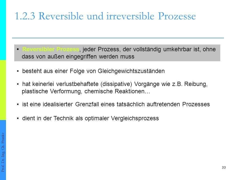 33 1.2.3Reversible und irreversible Prozesse Prof. Dr.-Ing. Ch. Franke Reversibler Prozess, jeder Prozess, der vollständig umkehrbar ist, ohne dass vo