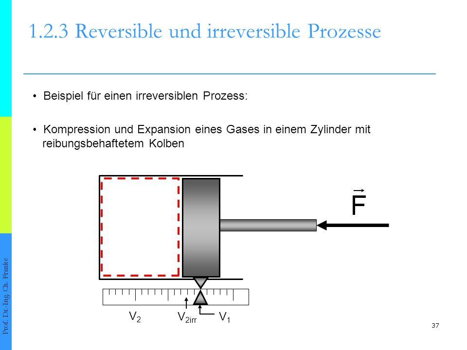 37 1.2.3Reversible und irreversible Prozesse Prof. Dr.-Ing. Ch. Franke Beispiel für einen irreversiblen Prozess: Kompression und Expansion eines Gases