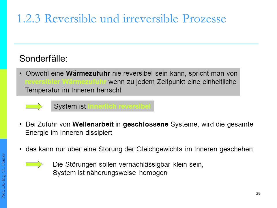 39 1.2.3Reversible und irreversible Prozesse Prof. Dr.-Ing. Ch. Franke Sonderfälle: Obwohl eine Wärmezufuhr nie reversibel sein kann, spricht man von