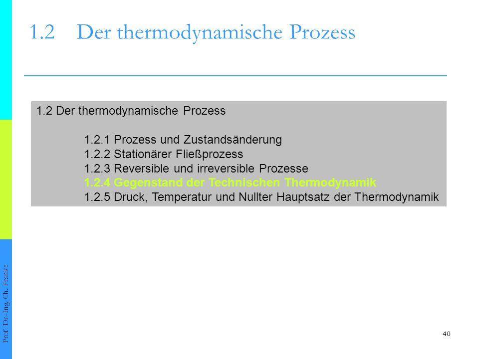 40 1.2Der thermodynamische Prozess Prof. Dr.-Ing. Ch. Franke 1.2 Der thermodynamische Prozess 1.2.1 Prozess und Zustandsänderung 1.2.2 Stationärer Fli