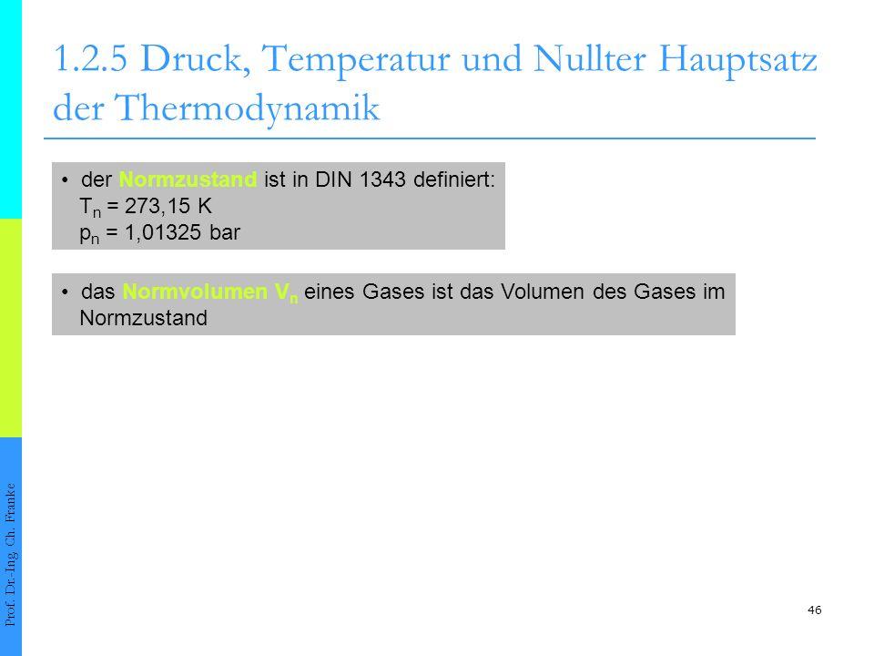 46 1.2.5Druck, Temperatur und Nullter Hauptsatz der Thermodynamik Prof. Dr.-Ing. Ch. Franke der Normzustand ist in DIN 1343 definiert: T n = 273,15 K