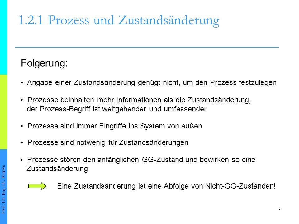 7 1.2.1Prozess und Zustandsänderung Prof. Dr.-Ing. Ch. Franke Folgerung: Angabe einer Zustandsänderung genügt nicht, um den Prozess festzulegen Prozes