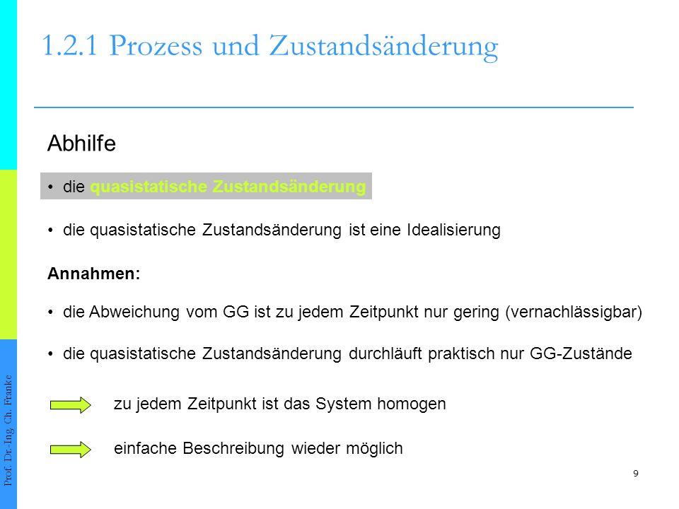 9 1.2.1Prozess und Zustandsänderung Prof. Dr.-Ing. Ch. Franke die quasistatische Zustandsänderung die quasistatische Zustandsänderung ist eine Idealis