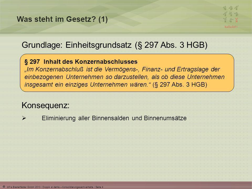 btf/is Breitenfelder GmbH 2010 / Doppik al dente – Konsolidierungssachverhalte / Seite 5 Was steht im Gesetz.