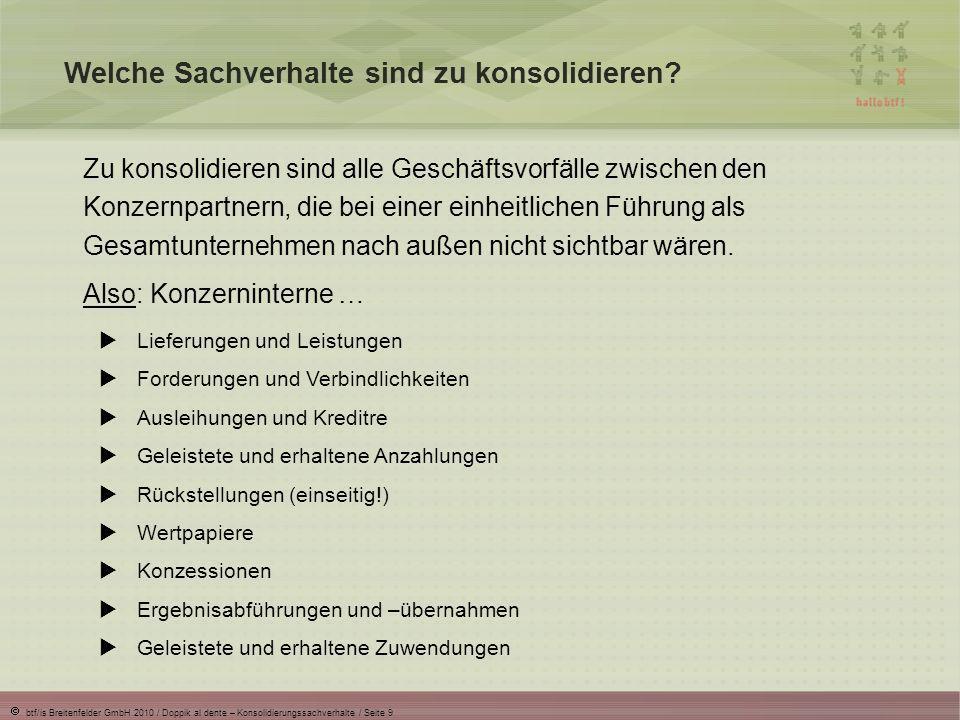 btf/is Breitenfelder GmbH 2010 / Doppik al dente – Konsolidierungssachverhalte / Seite 20 IC-Differenzen: Was sie sind und wie sie entstehen IC-Differenzen … sind Salden, die nach der Aufrechnung von IC-Sachverhalten verbleiben.