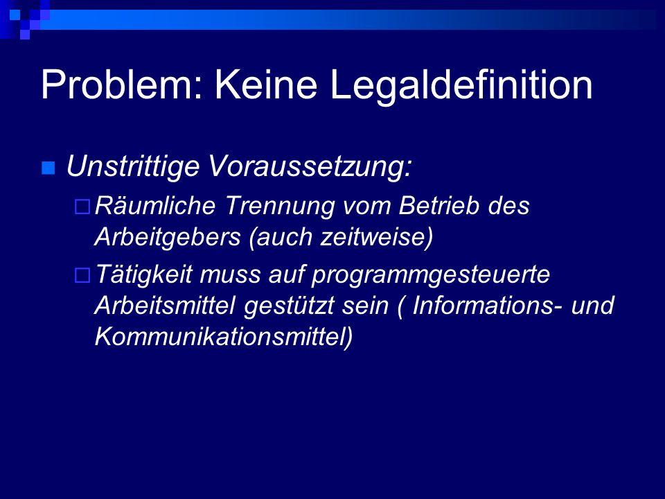 Problem: Keine Legaldefinition Unstrittige Voraussetzung: Räumliche Trennung vom Betrieb des Arbeitgebers (auch zeitweise) Tätigkeit muss auf programm