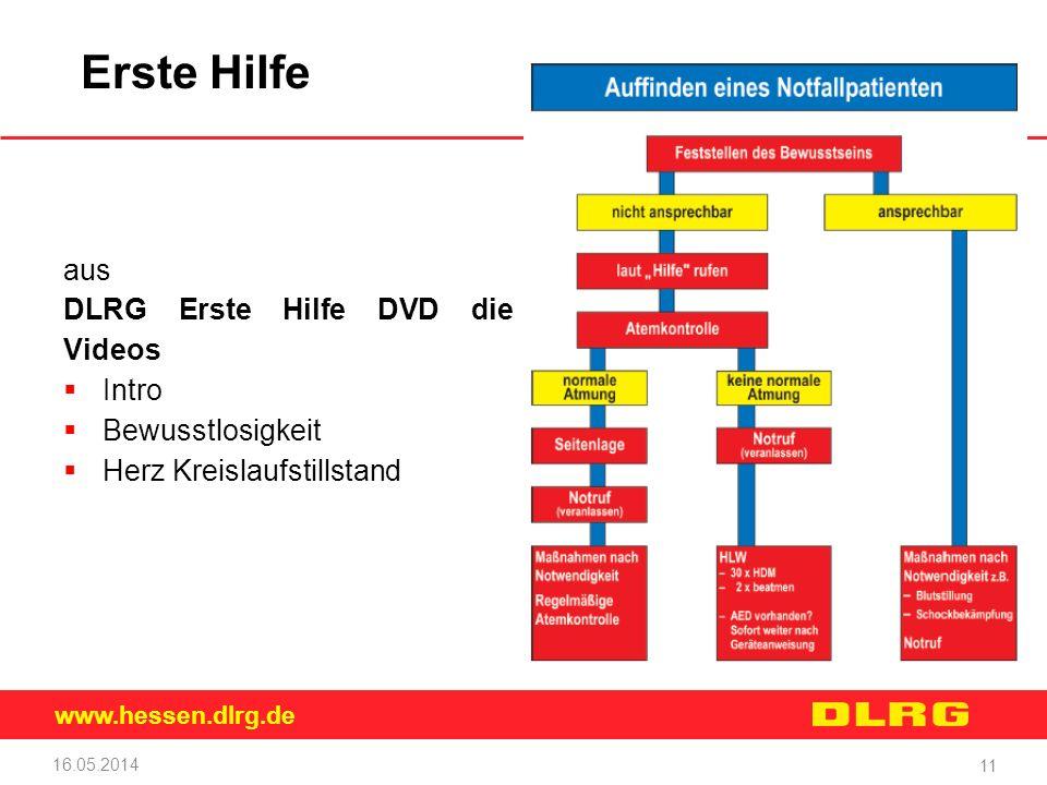 www.hessen.dlrg.de Erste Hilfe aus DLRG Erste Hilfe DVD die Videos Intro Bewusstlosigkeit Herz Kreislaufstillstand 16.05.2014 11 Musteraufzählung 20pt