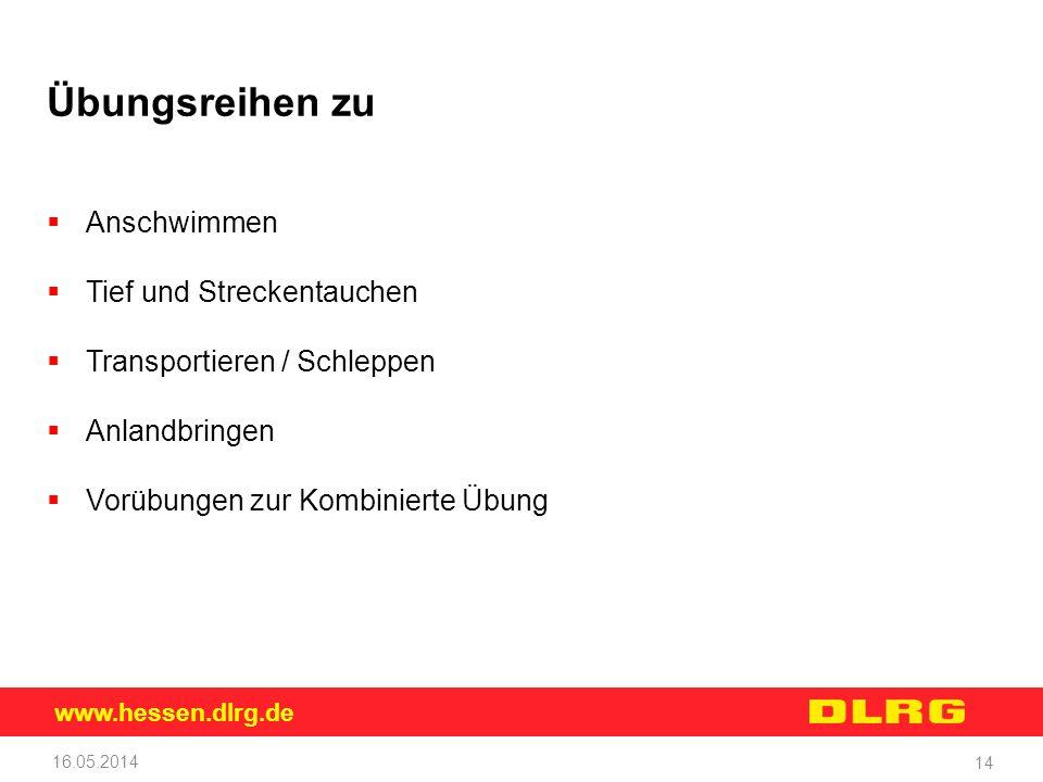 www.hessen.dlrg.de 16.05.2014 14 Übungsreihen zu Anschwimmen Tief und Streckentauchen Transportieren / Schleppen Anlandbringen Vorübungen zur Kombinie