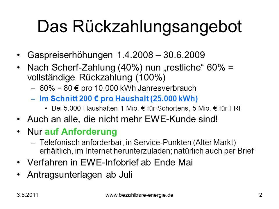 3.5.2011www.bezahlbare-energie.de2 Das Rückzahlungsangebot Gaspreiserhöhungen 1.4.2008 – 30.6.2009 Nach Scherf-Zahlung (40%) nun restliche 60% = volls