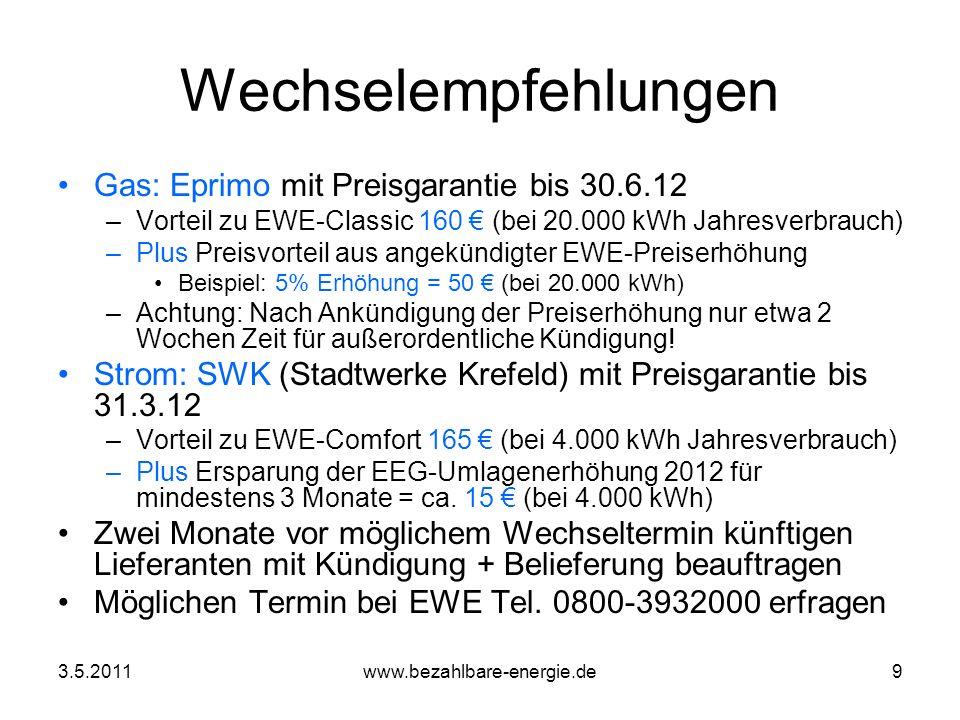 3.5.2011www.bezahlbare-energie.de10 Wechselprobleme Preiserhöhungen während Wechselprozedur Nach § 5 Abs 3 EWE-AGB eigentlich ausgeschlossen Dennoch bei nicht lückenlosem Übergang Einstufung in Grundversorgungstarif + Erhöhung Auf Beschwerde EWE-Kulanzzahlung von 59 Gerichtliche Klärung um § 5 Abs 3 angestrebt Alternativ: Bevollmächtigung des Neulieferanten mit außerordentlicher Kündigung würde auch schützen –Auftrags-Formulare dafür aber nicht ausgelegt –Nur 14 Tage Zeit für Kündigung – Gefahr der Fristverstreichung BezE weiter auf Lösungssuche –Will jemand in AG Wechselprobleme mitarbeiten.