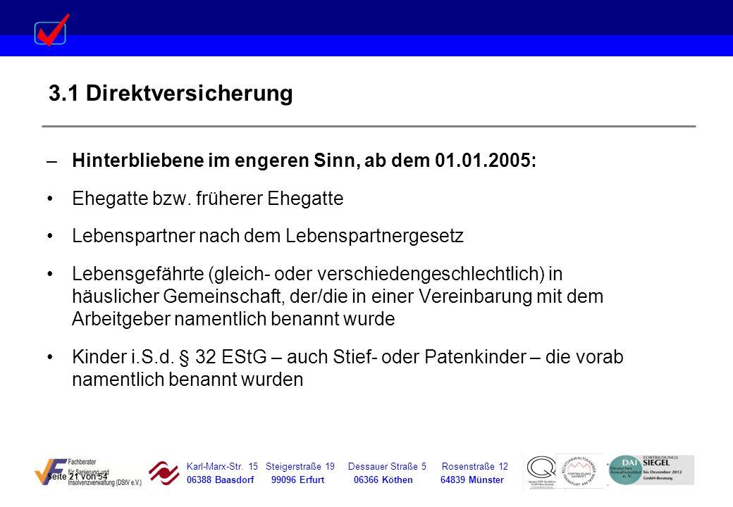 Karl-Marx-Str. 15 Steigerstraße 19 Dessauer Straße 5 Rosenstraße 12 06388 Baasdorf 99096 Erfurt 06366 Köthen 64839 Münster 3.1 Direktversicherung –Hin