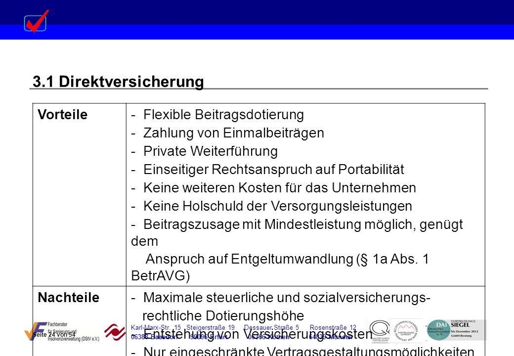 Karl-Marx-Str. 15 Steigerstraße 19 Dessauer Straße 5 Rosenstraße 12 06388 Baasdorf 99096 Erfurt 06366 Köthen 64839 Münster 3.1 Direktversicherung Vort