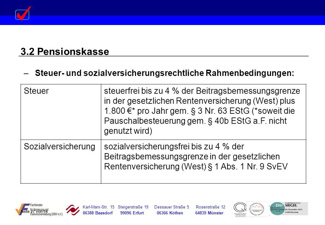 Karl-Marx-Str. 15 Steigerstraße 19 Dessauer Straße 5 Rosenstraße 12 06388 Baasdorf 99096 Erfurt 06366 Köthen 64839 Münster 3.2 Pensionskasse –Steuer-
