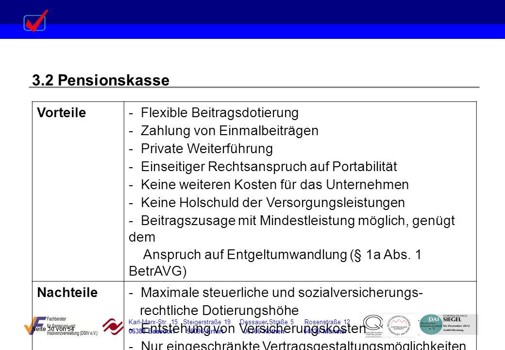 Karl-Marx-Str. 15 Steigerstraße 19 Dessauer Straße 5 Rosenstraße 12 06388 Baasdorf 99096 Erfurt 06366 Köthen 64839 Münster 3.2 Pensionskasse Vorteile-