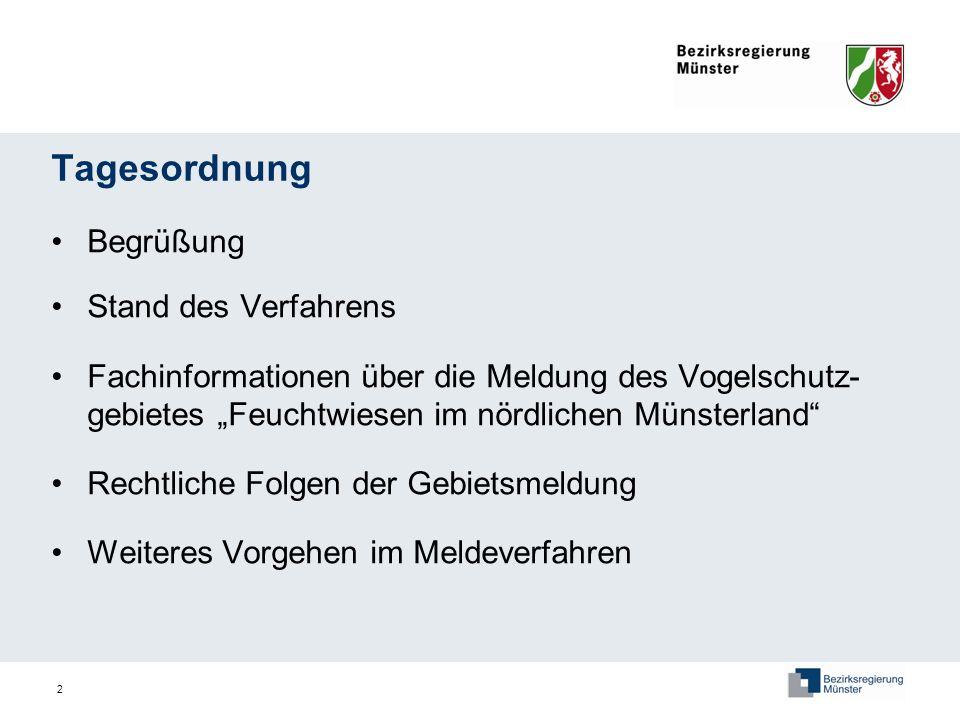 2 Tagesordnung Begrüßung Stand des Verfahrens Fachinformationen über die Meldung des Vogelschutz- gebietes Feuchtwiesen im nördlichen Münsterland Rech