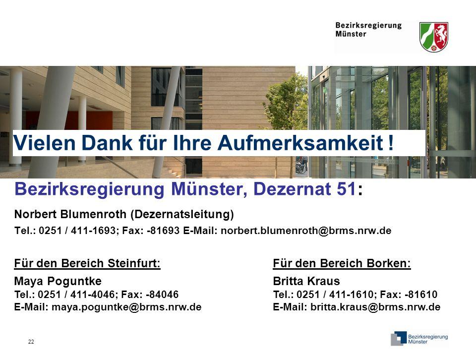 22 Vielen Dank für Ihre Aufmerksamkeit ! Bezirksregierung Münster, Dezernat 51: Norbert Blumenroth (Dezernatsleitung) Tel.: 0251 / 411-1693; Fax: -816