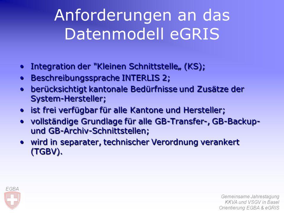 Gemeinsame Jahrestagung KKVA und VSGV in Basel Orientierung EGBA & eGRIS EGBA Anforderungen an das Datenmodell eGRIS IntegrationIntegration der Kleinen Schnittstelle (KS); BeschreibungsspracheBeschreibungssprache INTERLIS 2; berücksichtigtberücksichtigt kantonale Bedürfnisse und Zusätze der System-Hersteller; istist frei verfügbar für alle Kantone und Hersteller; vollständigevollständige Grundlage für alle GB-Transfer-, GB Backup- und GB-Archiv-Schnittstellen; wirdwird in separater, technischer Verordnung verankert (TGBV).