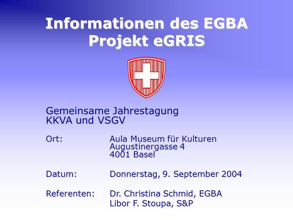 Informationen des EGBA Projekt eGRIS Gemeinsame Jahrestagung KKVA und VSGV Ort:Aula Museum für Kulturen Augustinergasse 4 4001 Basel Datum:Donnerstag, 9.