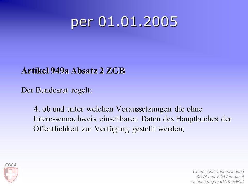 Gemeinsame Jahrestagung KKVA und VSGV in Basel Orientierung EGBA & eGRIS EGBA per 01.01.2005 Artikel 949a Absatz 2 ZGB Der Bundesrat regelt: 4.