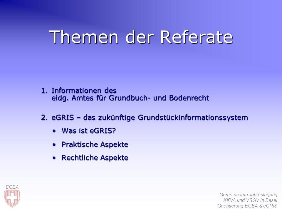 Gemeinsame Jahrestagung KKVA und VSGV in Basel Orientierung EGBA & eGRIS EGBA AV-Daten KS Hersteller Kantone EDV-Grundbuch Struktur des eGRIS-DatenmodellsindividuelleErweiterungen ÙDatenmodell eGRIS Ùverbindliche Daten Geometerdaten via «Kleine Schnittstelle» DM