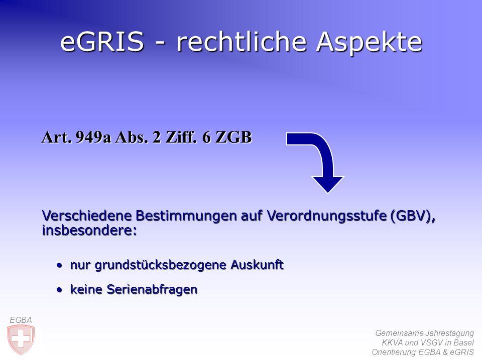 Gemeinsame Jahrestagung KKVA und VSGV in Basel Orientierung EGBA & eGRIS EGBA eGRIS - rechtliche Aspekte Art.