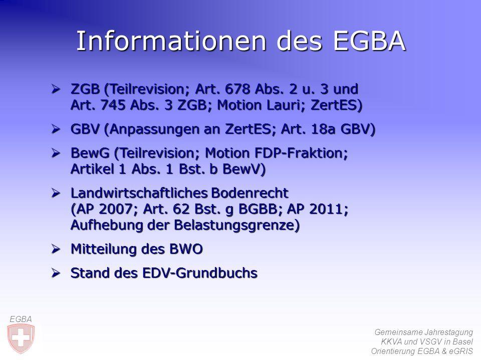 Gemeinsame Jahrestagung KKVA und VSGV in Basel Orientierung EGBA & eGRIS EGBA Informationen des EGBA ZGB ZGB (Teilrevision; Art.