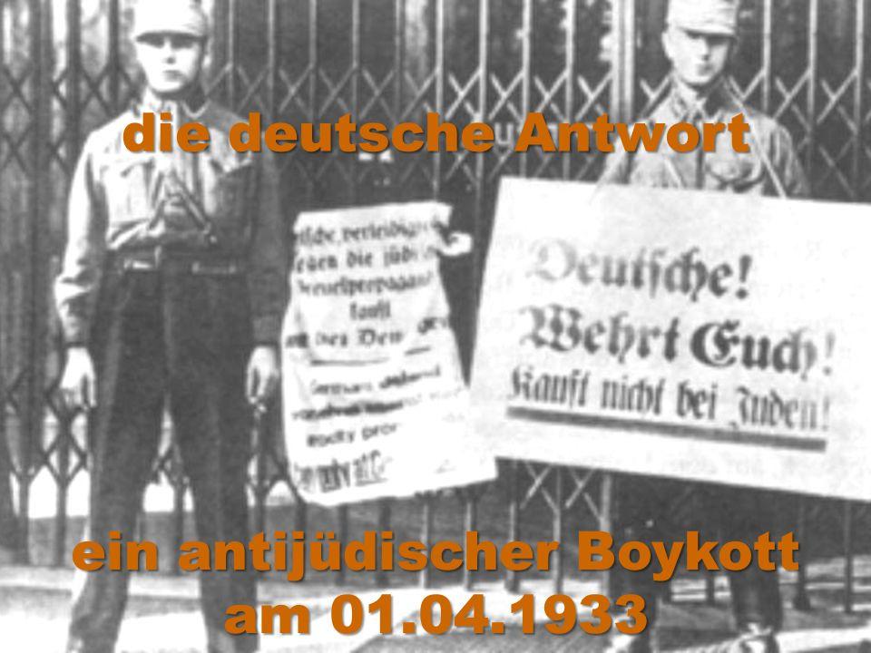 die deutsche Antwort ein antijüdischer Boykott am 01.04.1933