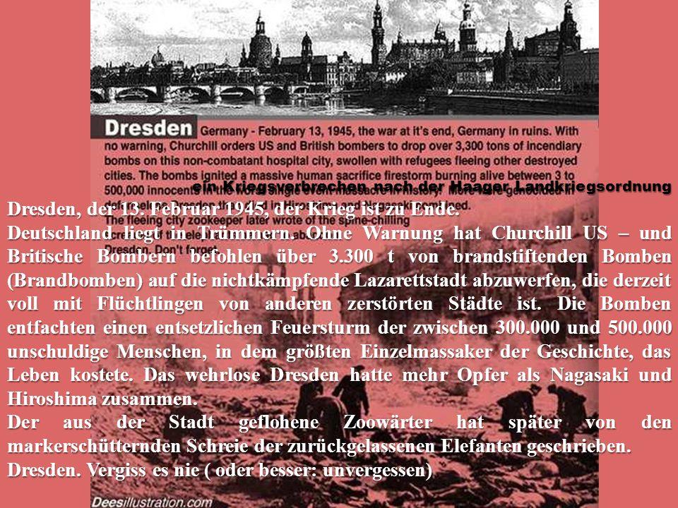 Dresden, der 13. Februar 1945, der Krieg ist zu Ende. Deutschland liegt in Trümmern. Ohne Warnung hat Churchill US – und Britische Bombern befohlen üb